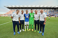 San Jose, CA - Thursday July 28, 2016: Ian Russell, Steve Ralston, Chris Wondolowski, David Bingham, Tim Hanley, Dominic Kinnear during a Major League Soccer All-Star Game match between MLS All-Stars and Arsenal FC at Avaya Stadium.