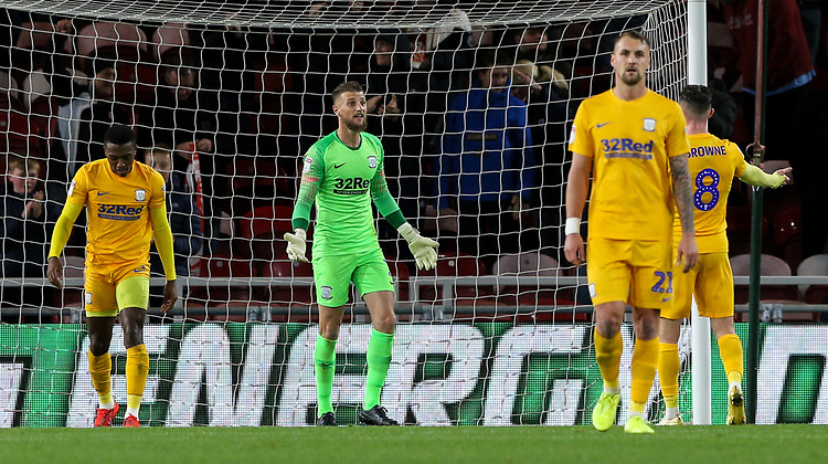 Preston North End players react after conceding an equaliser<br /> <br /> Photographer Alex Dodd/CameraSport<br /> <br /> The EFL Sky Bet Championship - Middlesbrough v Preston North End - Tuesday 1st October 2019  - Riverside Stadium - Middlesbrough<br /> <br /> World Copyright © 2019 CameraSport. All rights reserved. 43 Linden Ave. Countesthorpe. Leicester. England. LE8 5PG - Tel: +44 (0) 116 277 4147 - admin@camerasport.com - www.camerasport.com