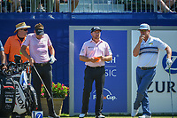Ian Poulter (GBR), Graeme McDowell (NIR), and Charley Hoffman (USA) stand on the first tee before Round 4 of the Zurich Classic of New Orl, TPC Louisiana, Avondale, Louisiana, USA. 4/29/2018.<br /> Picture: Golffile | Ken Murray<br /> <br /> <br /> All photo usage must carry mandatory copyright credit (&copy; Golffile | Ken Murray)