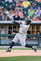 Francisco Lindor (12) of the Columbus Clippers takes his swings against the Charlotte Knights at BB&T BallPark on May 27, 2015 in Charlotte, North Carolina.  The Clippers defeated the Knights 9-3.  (Brian Westerholt/Four Seam Images)
