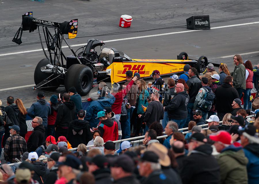 Feb 10, 2019; Pomona, CA, USA; NHRA top fuel driver Richie Crampton during the Winternationals at Auto Club Raceway at Pomona. Mandatory Credit: Mark J. Rebilas-USA TODAY Sports