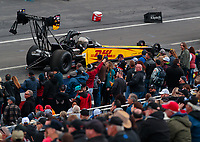 Feb 10, 2019; Pomona, CA, USA; NHRA top fuel driver Richie Crampton during the Winternationals at Auto Club Raceway at Pomona. Mandatory Credit: Mark J. Rebilas-USA TODAY Sports