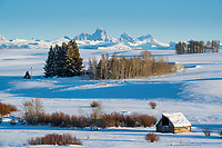 Southeast Idaho winter farmscape.  The west side of the Grand Tetons is a great place to capture Idaho agriculture.