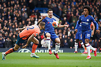 Chelsea's Cesar Azpilicueta holds off the challenge from Everton's Lucas Digne<br /> <br /> Photographer Stephanie Meek/CameraSport<br /> <br /> The Premier League - Chelsea v Everton - Sunday 8th March 2020 - Stamford Bridge - London<br /> <br /> World Copyright © 2020 CameraSport. All rights reserved. 43 Linden Ave. Countesthorpe. Leicester. England. LE8 5PG - Tel: +44 (0) 116 277 4147 - admin@camerasport.com - www.camerasport.com