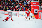 HOLMENKOLLEN, OSLO, NORWAY - March 17: (L) Barbro Kvaale of Norway (NOR) finishes 48th place in photo finish before (R) Mari Eide of Norway (NOR) at the Ladies 30 km mass start race, free technique, at the FIS Cross Country World Cup on March 17, 2013 in Oslo, Norway. (Photo by Dirk Markgraf)