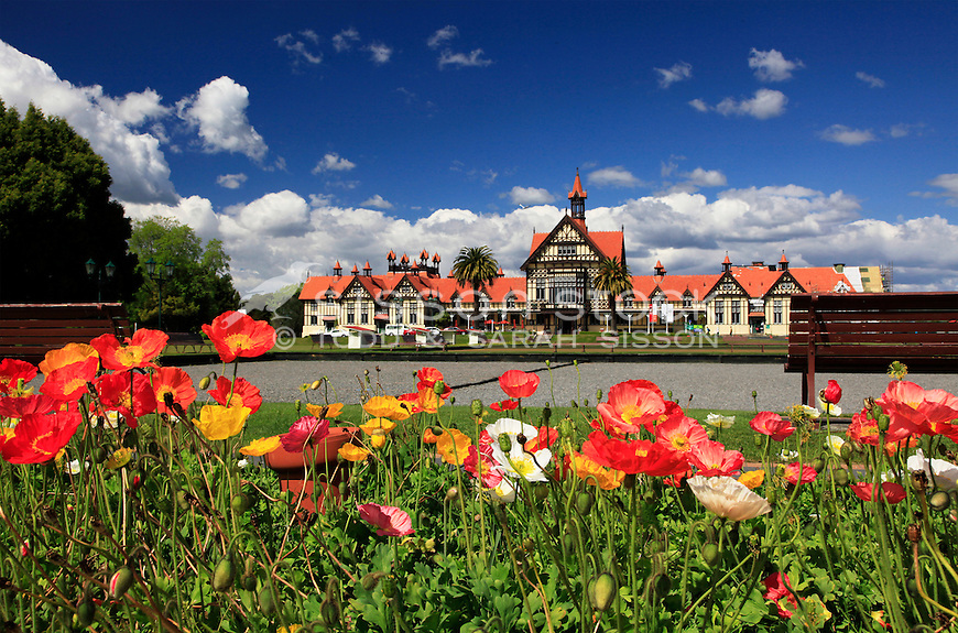 Poppies and Rotorua Museum on a sunny summer day in scenic Rotorua
