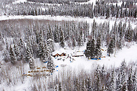 Thursday March, 2012   Volunteers stand outside the checkpoint at Ophir in this aerial photo.   Iditarod 2012.