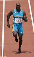 Derrick Atkins of of the Bahamas ran 10.25sec. in the 1st. round of the 100m dash at the 11th. IAAF World Championships in Osaka, Japan on Saturday, August 25, 2007. Photo by Errol Anderson, The Sporting Image.