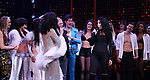 Stephanie J. Block and Cher with castduring the Broadway Opening Night Curtain Call of 'The Cher Show'  at Neil Simon Theatre on December 3, 2018 in New York City.