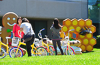 Sept. 6, 2011 - Mountain View, California - U.S. - A woman tries a bicycle parked at the Google world headquarters in Mountain View, California Monday September 5, 2011.  (Credit Image: Alan Greth/ZUMAPress.com).