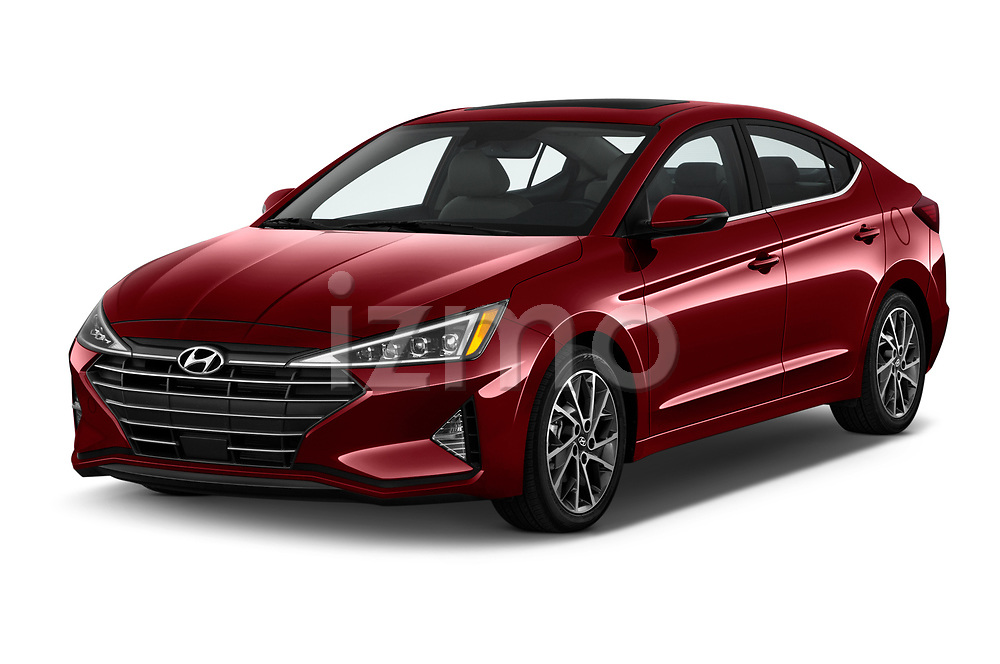 2019 Hyundai Elantra Limited 4 Door Sedan Angular Front stock photos of front three quarter view