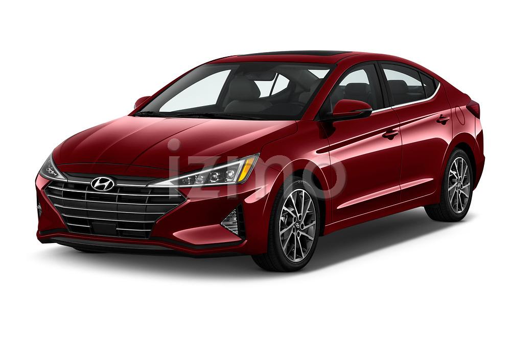 2020 Hyundai Elantra Limited 4 Door Sedan Angular Front stock photos of front three quarter view