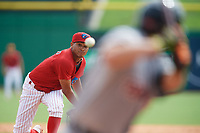 Clearwater Threshers starting pitcher Alberto Tirado (31) follows through on a pitch during the first game of a doubleheader against the Lakeland Flying Tigers on June 14, 2017 at Spectrum Field in Clearwater, Florida.  Lakeland defeated Clearwater 5-1.  (Mike Janes/Four Seam Images)