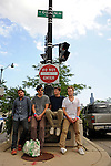 The Grizzly Bear (l-r) Daniel Rossen, 26, Edward Droste, 30, Chris Bear, 27, and Chris Taylor, 28, of Brooklyn just outside the Pitchfork Music Festival at the corner of Randolph and Ogden in Chicago, Illinois on July 19, 2009.