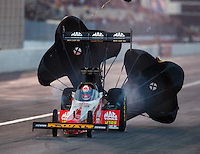 Feb 11, 2017; Pomona, CA, USA; NHRA top fuel driver Doug Kalitta during qualifying for the Winternationals at Auto Club Raceway at Pomona. Mandatory Credit: Mark J. Rebilas-USA TODAY Sports