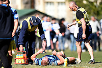 Anton Segner of Nelson College gets medical treatment, during the 1st XV South Island Final rugby match between Otago Boys High School 1st XV and Nelson College 1st XV at Littlebourne in Dunedin, New Zealand on Saturday, 31 August 2019. Photo: Joe Allison / lintottphoto.co.nz