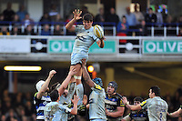 Donncha O'Callaghan of Worcester Warriors wins the ball at a lineout. Aviva Premiership match, between Bath Rugby and Worcester Warriors on December 27, 2015 at the Recreation Ground in Bath, England. Photo by: Patrick Khachfe / Onside Images