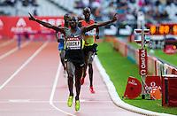 06 JUL 2012 - PARIS, FRA - Paul Koech of Kenya celebrates winning the men's 3000m Steeplechase race during the 2012 Meeting Areva held in the Stade de France in Paris, France .(PHOTO (C) 2012 NIGEL FARROW)