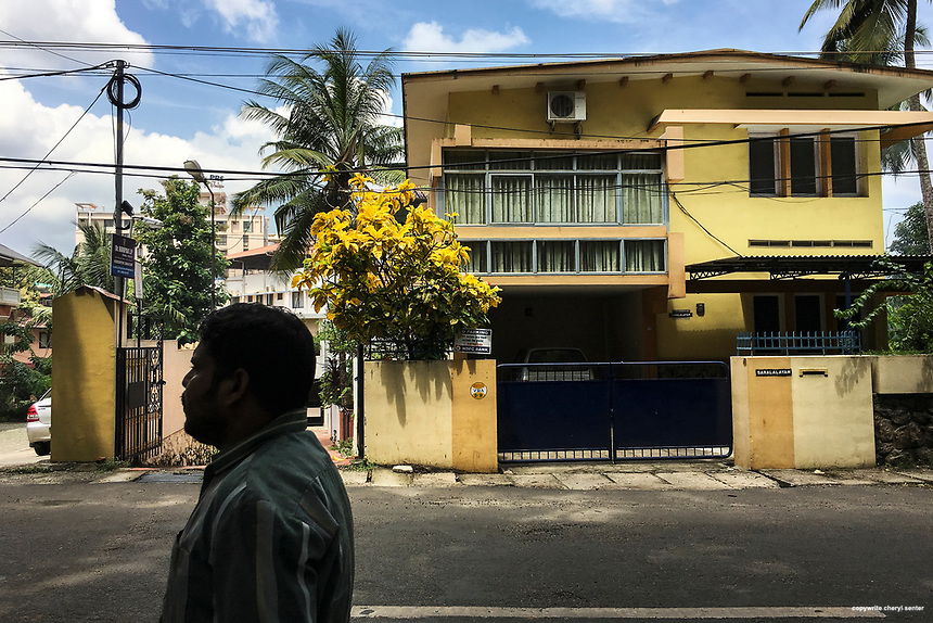 A man walks through a neighborhood in Thiruvananthapuram, India,  June 8, 2017 Roads normally bustling, there was minimal people and traffic due to a political protest that blocked main thoroughfares and closed all businesses. (Cellphone Photo by Cheryl Senter)