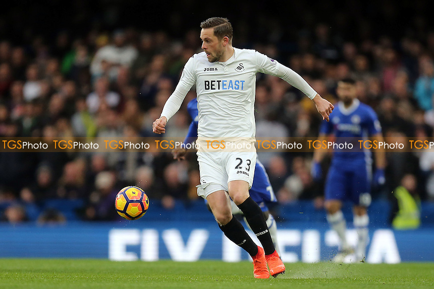 Gylfi Sigurdsson of Swansea City during Chelsea vs Swansea City, Premier League Football at Stamford Bridge on 25th February 2017