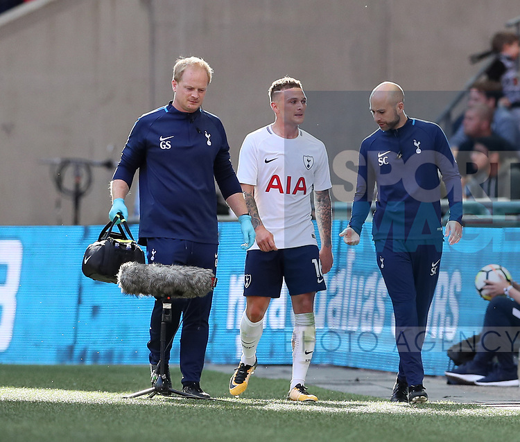 Tottenham's Kieran Trippier goes off injured during the pre season match at Wembley Stadium, London. Picture date 5th August 2017. Picture credit should read: David Klein/Sportimage