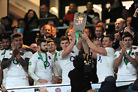 Owen Farrell (c) and Dylan Hartley of England lift the trophy after winning the Quilter International match between England and Australia at Twickenham Stadium on Saturday 24th November 2018 (Photo by Rob Munro/Stewart Communications)
