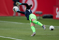 CARSON, CA - FEBRUARY 9: GK Kailen Sheridan #18 of Canada warming up during a game between Canada and USWNT at Dignity Health Sports Park on February 9, 2020 in Carson, California.