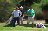 Lee Westwood (ENG) in action on the 1st during Round 2 of the ISPS Handa World Super 6 Perth at Lake Karrinyup Country Club on the Friday 9th February 2018.<br /> Picture:  Thos Caffrey / www.golffile.ie<br /> <br /> All photo usage must carry mandatory copyright credit (&copy; Golffile | Thos Caffrey)