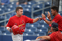 Palm Beach Cardinals designated hitter Luke Dykstra (32) is greeted at the dugout by Leobaldo Pina (right) after hitting a home run during a game against the Charlotte Stone Crabs on April 12, 2017 at Charlotte Sports Park in Port Charlotte, Florida.  Palm Beach defeated Charlotte 8-7 in ten innings.  (Mike Janes/Four Seam Images)