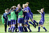 20180501 - TUBIZE , BELGIUM : Anderlecht's players pictured celebrating their 1-0 lead over Genk during a womensoccer game between  RSC Anderlecht Dames and KRC Genk Ladies , during play-off 1 , at the Euro 2000 Center in Tubize , tuesday 1 st May 2018 . PHOTO SPORTPIX.BE | DAVID CATRY