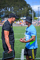Hurricanes head coach John Plumtree talks to asistant Carlos Spencer at halftime during the Super Rugby preseason match between the Hurricanes and Crusaders at Levin Domain in Levin, New Zealand on Saturday, 2 February 2019. Photo: Dave Lintott / lintottphoto.co.nz