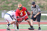 Mission Viejo, CA 05/14/11 - Colby Maxwell (Mission Viejo #4) and Hunter Lew (Loyola #6) in action during the Division 2 US Lacrosse / CIF Southern Section Championship game between Mission Viejo and Loyola at Redondo Union High School.