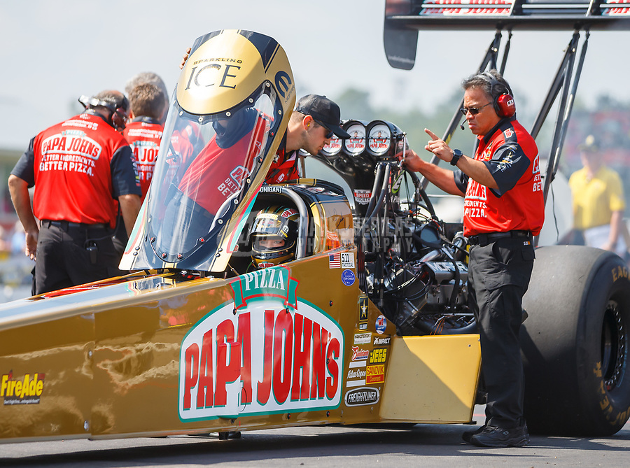 Aug 19, 2017; Brainerd, MN, USA; Crew members for NHRA top fuel driver Leah Pritchett during qualifying for the Lucas Oil Nationals at Brainerd International Raceway. Mandatory Credit: Mark J. Rebilas-USA TODAY Sports