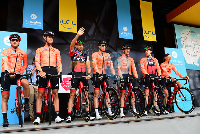 BMC Racing Team introduced on stage at sign on before Stage 1 of the 2018 Criterium du Dauphine 2018 running 179km from Valence to Saint-Just-Saint-Rambert, France. 4th June 2018.<br /> Picture: ASO/Alex Broadway | Cyclefile<br /> <br /> <br /> All photos usage must carry mandatory copyright credit (© Cyclefile | ASO/Alex Broadway)