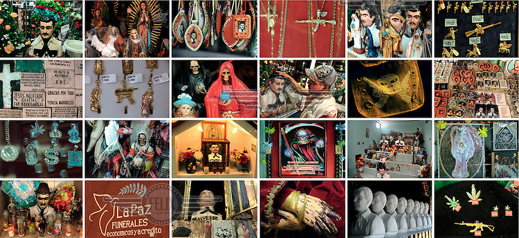A composite image showing different religions imagery related to the drug trafficking violence in Mexico.