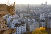 Chimera, overlooking the city, Notre Dame de Paris, 1163 ? 1345, initiated by the bishop Maurice de Sully, Ile de la Cité, Paris, France. Picture by Manuel Cohen
