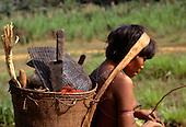 Roraima, Brazil. Yanomami with full basket.