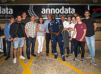 Man of the match Adebayo Akinfenwa of Wycombe Wanderers with the sponsors during the Pre-Season Friendly match between Wycombe Wanderers and Queens Park Rangers at Adams Park, High Wycombe, England on the 22nd July 2016. Photo by Liam McAvoy / PRiME Media Images.