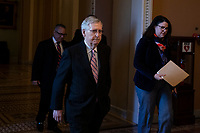 Senate Majority Leader Mitch McConnell, Republican of Kentucky, leaves the Senate floor after speaking at the U.S. Capitol in Washington, D.C. on March 12, 2019. Credit: Alex Edelman / CNP/AdMedia