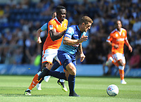 Blackpool's Joe Dodoo under pressure from Wycombe Wanderers' Adam El-Abd<br /> <br /> Photographer Kevin Barnes/CameraSport<br /> <br /> The EFL Sky Bet League One - Wycombe Wanderers v Blackpool - Saturday 4th August 2018 - Adams Park - Wycombe<br /> <br /> World Copyright &copy; 2018 CameraSport. All rights reserved. 43 Linden Ave. Countesthorpe. Leicester. England. LE8 5PG - Tel: +44 (0) 116 277 4147 - admin@camerasport.com - www.camerasport.com