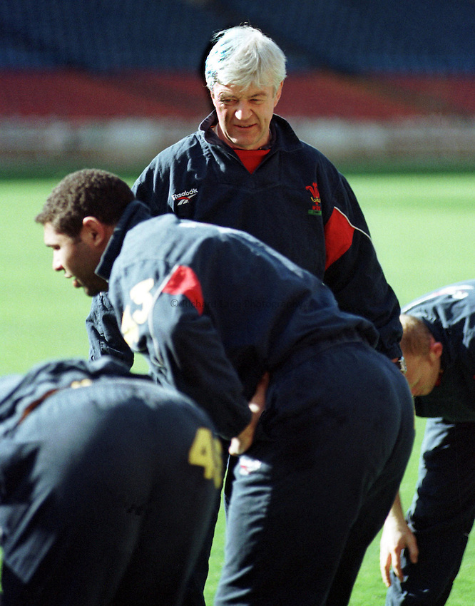 Photo. Richard Lane..Kevin Bowering, the Welsh Coach looks on at Wembley. 5/3/98