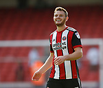 Jack O'Connell of Sheffield Utd enjoys the win during the Championship match at Bramall Lane, Sheffield. Picture date 26th August 2017. Picture credit should read: Simon Bellis/Sportimage