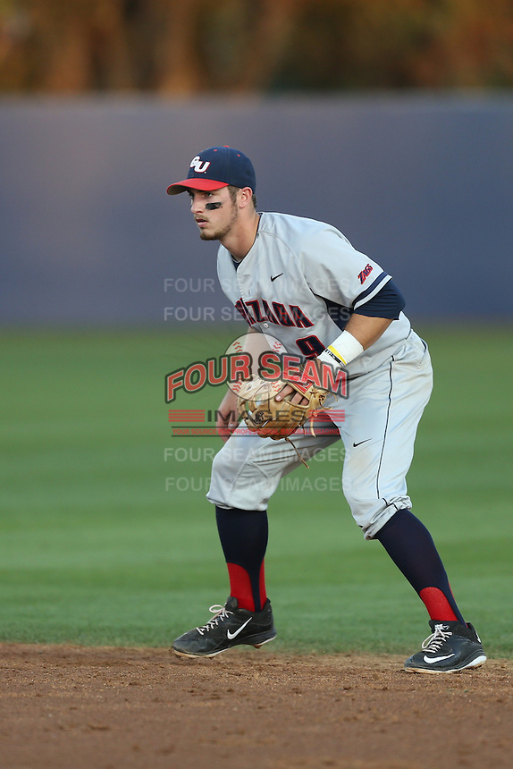 Mitchell Gunsolus (9) of the Gonzaga Bulldogs in the field during a game against the Loyola Marymount Lions at Page Stadium on March 27, 2015 in Los Angeles, California. Loyola Marymount defeated Gonzaga 6-5.(Larry Goren/Four Seam Images)