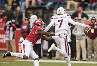 Hawgs Illustrated/BEN GOFF <br /> De'Jon Harris, Arkansas linebacker, tackles Nick Fitzgerald, Mississippi State quarterback, in the second quarter Saturday, Nov. 18, 2017, at Reynolds Razorback Stadium in Fayetteville.