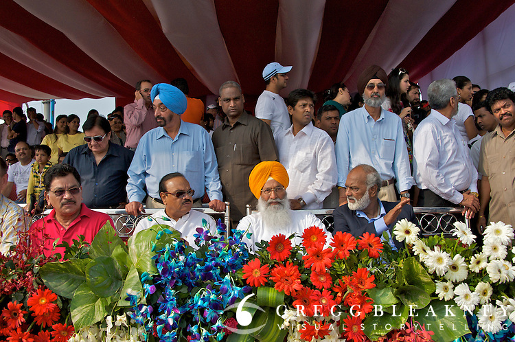 VIP tent and (President of the India Cycling Federation, Sukhdev Singh Dhindsa, Center) watch on as JJ Haedo took the overall race win and $50K cash prize- 2010 Tour of Mumbai Cyclothon - India