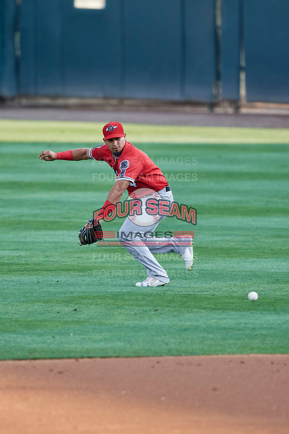 Franklin Barreto (4) of the Nashville Sounds on defense against the Salt Lake Bees at Smith's Ballpark on July 27, 2018 in Salt Lake City, Utah. The Bees defeated the Sounds 8-6. (Stephen Smith/Four Seam Images)