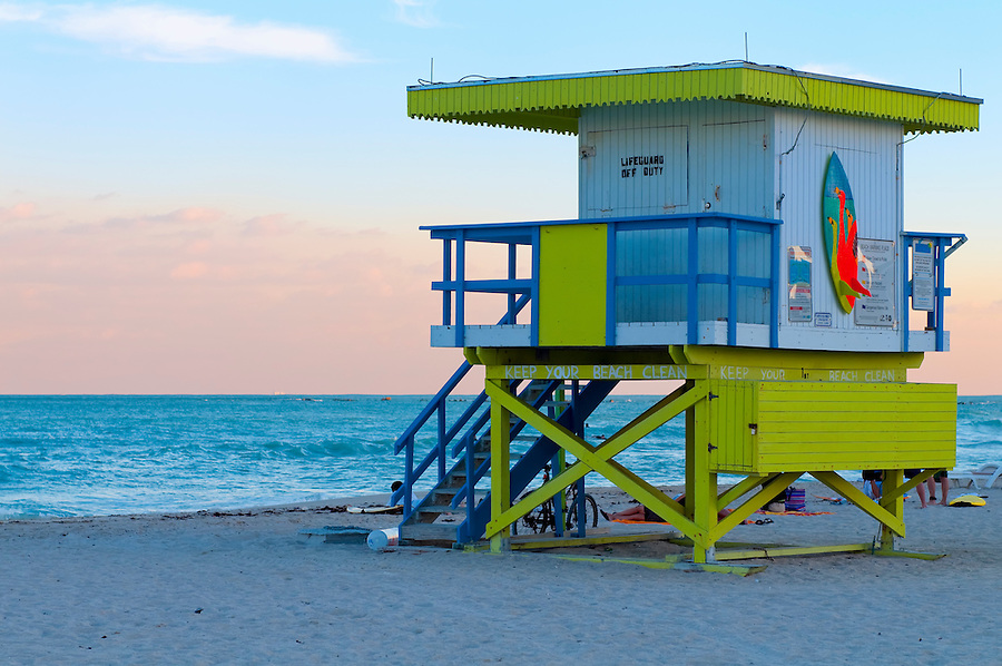 Lifeguard shelter at the beach in Miami Beach, Florida