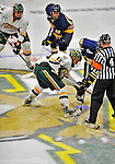 15 February 2008: University of Vermont Catamounts' forward Brian Roloff, a Sophomore from West Seneca, NY, in action against the Merrimack College Warriors at Gutterson Fieldhouse in Burlington, Vermont. The Catamounts defeated the Warriors 4-1 in the first game of their 2-game weekend series...Mandatory Photo Credit: Ed Wolfstein Photo