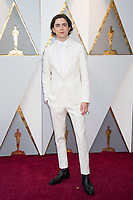Timoth&eacute;e Chalamet, Oscar&reg; nominee for actor in a leading role, arrives for the live ABC Telecast of The 90th Oscars&reg; at the Dolby&reg; Theatre in Hollywood, CA on Sunday, March 4, 2018.<br /> *Editorial Use Only*<br /> CAP/PLF/AMPAS<br /> Supplied by Capital Pictures