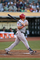 OAKLAND, CA - AUGUST 7:  Kendrys Morales of the Los Angeles Angels bats during the game against the Oakland Athletics at O.co Coliseum on Tuesday, August 7, 2012 in Oakland, California. Photo by Brad Mangin